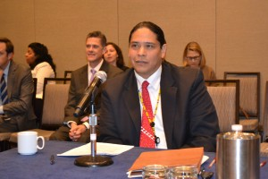 National Indian Gaming Commissioner Jonodev Osceola Chaudhuri speaks to USET