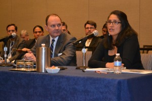 U.S. Interior Assistant Secretary, Indian Affairs Kevin Washburn (left) and Chief General Counsel Hilary Tompkins address USET.