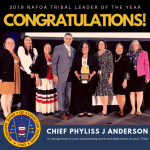 Congratulations Mississippi Band of Choctaw Indians Chief Phyliss J Anderson the 2019 NAFOA Tribal Leader of the Year!