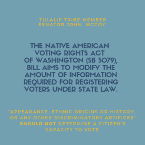 Sen. John McCoy Proposes Amendment to the Native American Voting Rights Act 4/29/2019