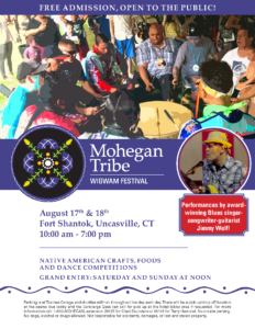 2019 Mohegan Wigwam Festival to be held  August 17 & 18