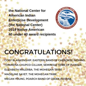 The National Center Announces 2019 Native American 40 under 40 Award Recipients
