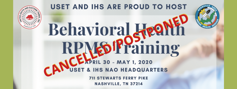 cancelled Behavioral Health training April -May2020